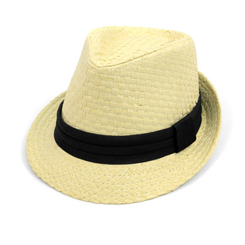 Spring/Summer Basket Weave Fashion Fedora with Black Band FSS17111