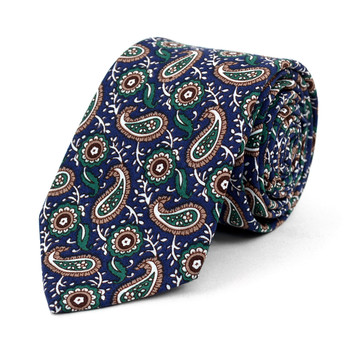 "Paisley Green & Navy 2.5"" Cotton Slim Tie - NVC17134"