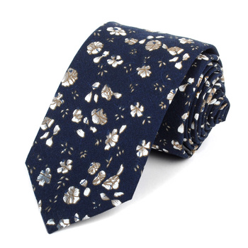 "Floral Wedding Navy 2.5"" Cotton Slim Tie - NVC17117"