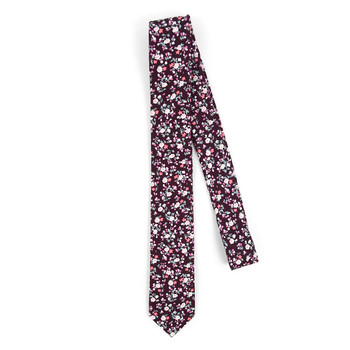 "Floral Burgundy 2.5"" Cotton Slim Tie - NVC17120"