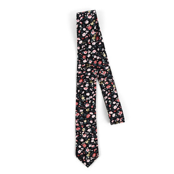 "Floral Black & Pink 2.5"" Cotton Slim Tie - NVC17121"