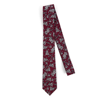 "Floral Burgundy & White 2.5"" Cotton Slim Tie - NVC17125"