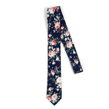 "Floral Navy 2.5"" Cotton Slim Tie - NVC17129"
