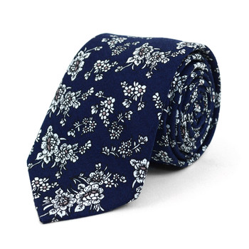 "Floral Navy & White 2.5"" Cotton Slim Tie - NVC17134"