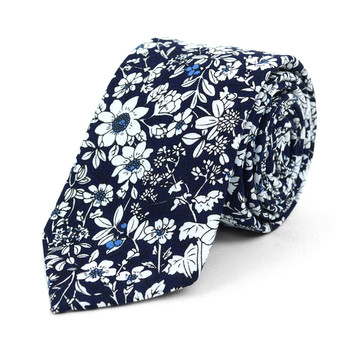 "Floral Navy & White 2.5"" Cotton Slim Tie - NVC17137"