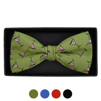 Men's Martini Glass Pattern Banded Bow Tie