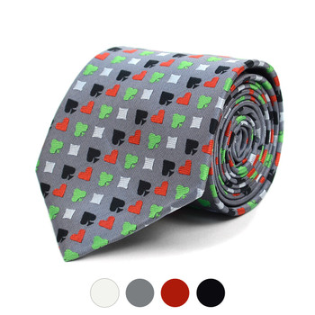 Poker Card Suits Pattern Novelty Tie