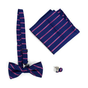 12pc Pack Assorted Men's Striped Bow Tie, Matching Hanky & Cufflinks BTHC1000STP