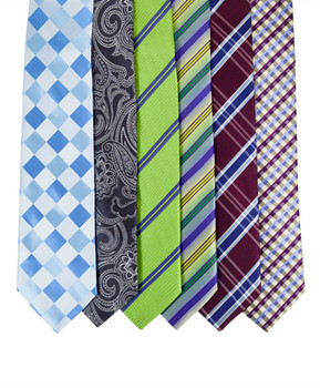 6pc Assorted Men's Micro Woven Zipper Ties MPWZ5360