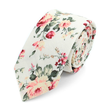 "Floral Wedding Red & White 2.5"" Cotton Slim Tie - NVC17131"
