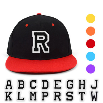 Varsity Letter Initials Two Tone Flat Bill Embroidery Patch Snapback Cap, Hat (IPFBFCAP2)