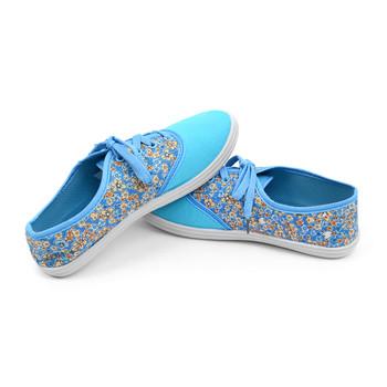 12pcs Women's Blue Floral Canvas Flat Casual Shoes Sneakers SH1100-BLUE