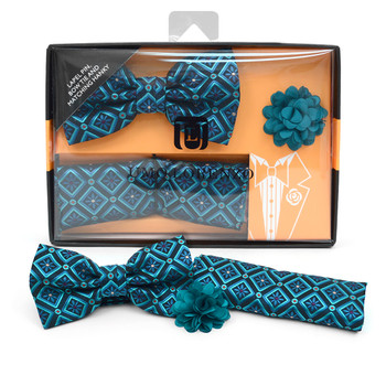 Geometric Floral Banded Bow Tie, Matching Hanky & Teal Lapel Pin Set BTHLB07042