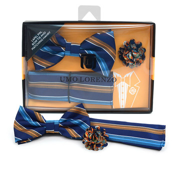 Striped Banded Bow Tie, Matching Hanky & Multi Color Lapel Pin Set BTHLB07049
