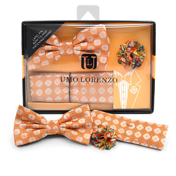 Dotted Geometric Banded Bow Tie, Matching Hanky & Multi Color Lapel Pin Set BTHLB07051