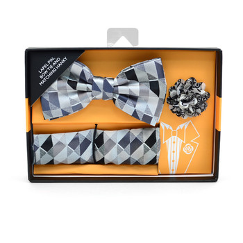 Geometric Banded Bow Tie, Matching Hanky & Gray Lapel Pin Set BTHLB07046