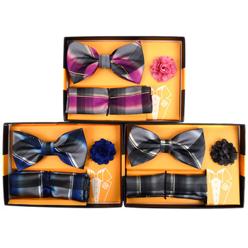 Plaid Banded Bow Tie, Matching Hanky & Lapel Pin Set BTHLB07044M