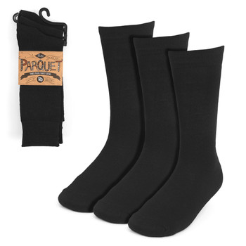 Assorted Pack (3 Pairs) Men's Solid Black Fancy Dress Socks 3PKS-DRSY10