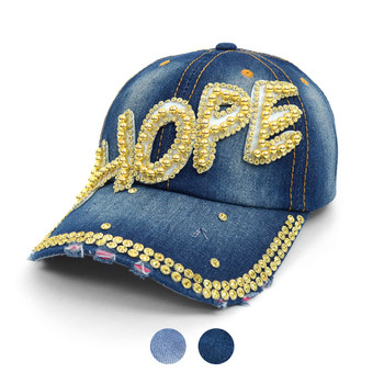 """HOPE"" Bling Studs Denim Baseball Cap CP9601"