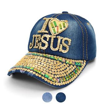 """I ♥ JESUS "" Bling Studs Denim Baseball Cap CP9608"