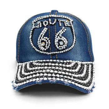 """ROUTE 66 "" Bling Studs Denim Baseball Cap CP9604"