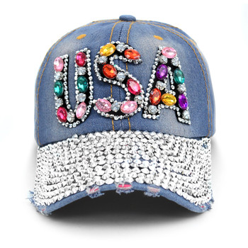 """USA"" Bling Studs Denim Baseball Cap CP9609"