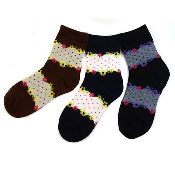 3 Pairs Assorted Pack Women's Crew Socks 3PKS-WCS4