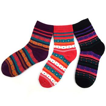 3 Pairs Assorted Pack Women's Crew Socks 3PKS-WCS5