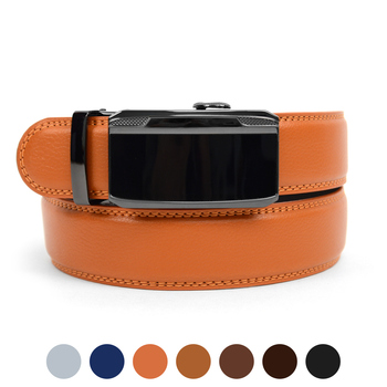 Men's Genuine Leather Sliding Buckle Ratchet Belt MGLBB33