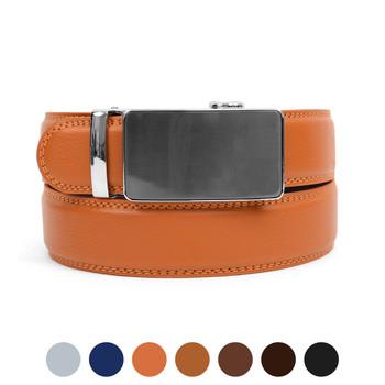 Men's Genuine Leather Sliding Buckle Ratchet Belt MGLBB34