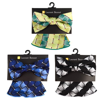 Striped Geometric Pattern Banded Bow Tie & Matching Hanky Pocket Round Set BTH170330