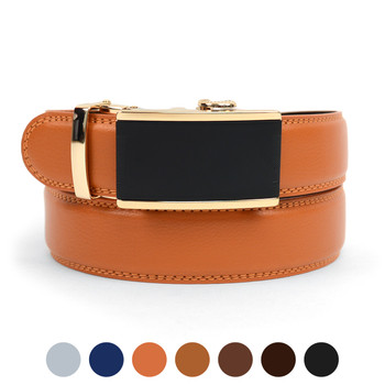 Men's Genuine Leather Sliding Buckle Ratchet Belt MGLBB11