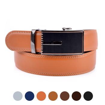 Men's Genuine Leather Sliding Buckle Ratchet Belt MGLBB15