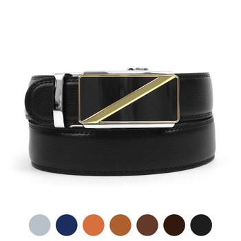 Men's Genuine Leather Sliding Buckle Ratchet Belt MGLBB17