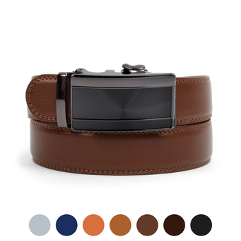 Men's Genuine Leather Sliding Buckle Ratchet Belt MGLBB21