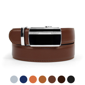 Men's Genuine Leather Sliding Buckle Ratchet Belt MGLBB24