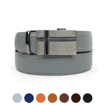 Men's Genuine Leather Sliding Buckle Ratchet Belt MGLBB26