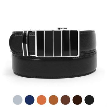Men's Genuine Leather Sliding Buckle Ratchet Belt MGLBB31