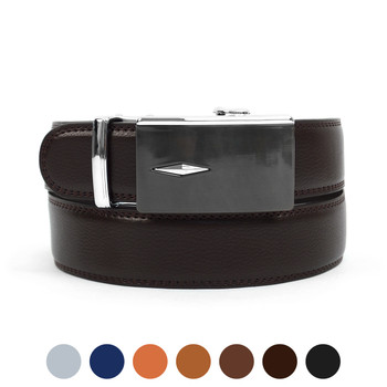 Men's Genuine Leather Sliding Buckle Ratchet Belt MGLBB35