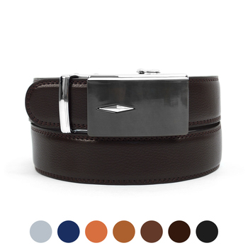 Men's Genuine Leather Sliding Buckle Ratchet Belt MGLBB35