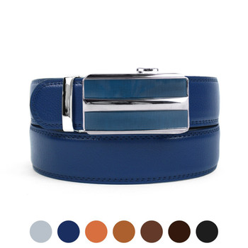 Men's Genuine Leather Sliding Buckle Ratchet Belt MGLBB41