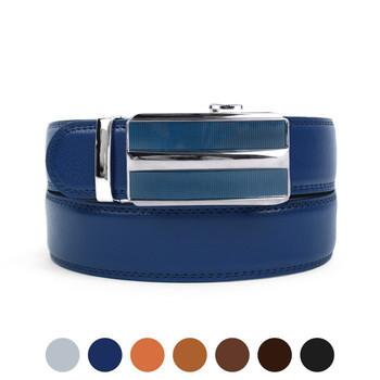 Men's Genuine Leather Sliding Buckle Ratchet Belt MGLBB41