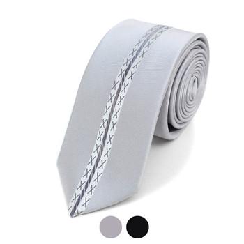 "X-Stitch Pattern Microfiber Poly Woven 2.25"" Slim Panel Tie MPPW1631"