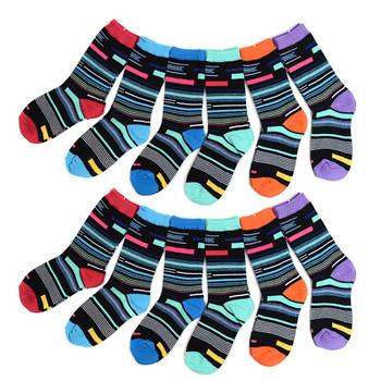 4-Packs (3 pairs/pack) Women's Mixed Stripes Crew Socks 3PKSWCS-644