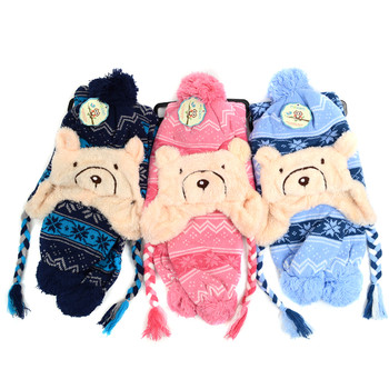 Kid's Winter Knitted Ear Flap Lined Snowflake Bear Pom Beanie Scarf and Hat Set - KKWS1731