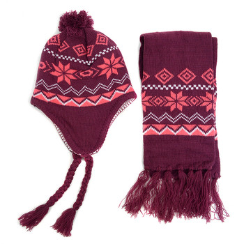 Kid's Winter Knitted Ear Flap Lined Snowflake Pom Beanie Scarf with Tassel and Hat Set - KKWS1722