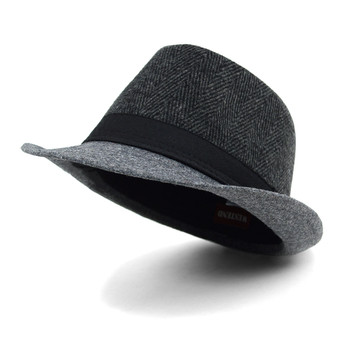 Fall/Winter Herringbone Fedora Hat with Grey Brim H171360-CHAR