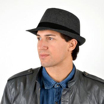 Fall/Winter Herringbone Fedora Hat with Grey Brim H171360-CHAR