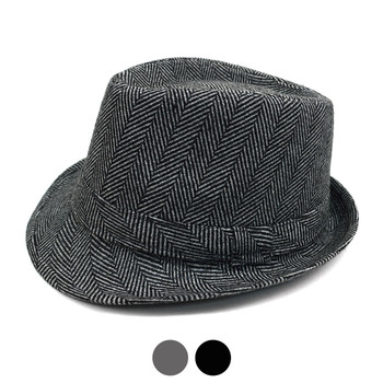 Fall/Winter Herringbone Trilby Fedora Hat with Band Trim H171388