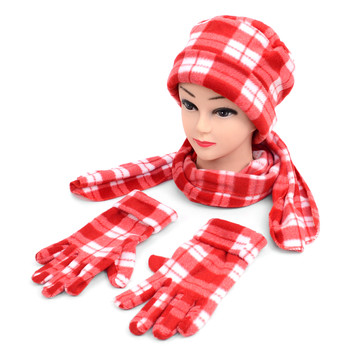 6pc Pack Women's Red Plaid Fleece Winter Set WNTSET1002-RD